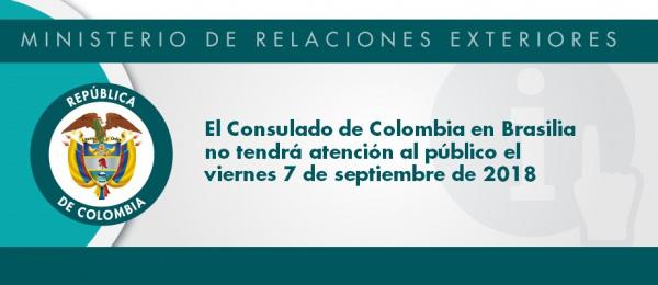 Consulado de Colombia en Brasilia no tendrá atención al público el viernes 7 de septiembre
